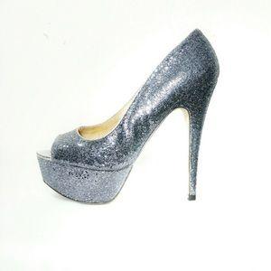 Aldo peeptoe silver high platform heels